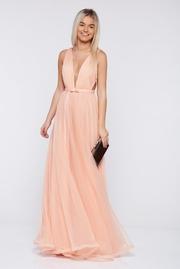 rochie lunga piersica de lux din tul captusita pe interior cu decolteu in v