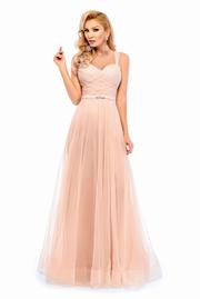 rochie lunga piersica de lux tip corset din tul captusita pe interior