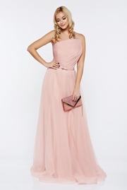 rochie lunga piersica tip corset de lux din tul captusita pe interior