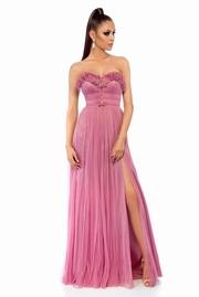 rochie lunga rosa de lux cu bust buretat din tul captusita pe interior