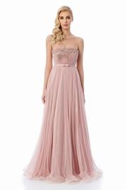 rochie lunga rosa de lux din tul captusita pe interior cu aplicatii cu margele
