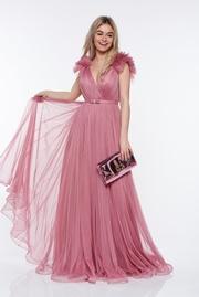 rochie lunga rosa de lux din tul captusita pe interior cu bust buretat si decolteu adanc