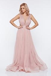 rochie lunga rosa de lux in clos din tul cu spatele gol