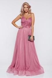 rochie lunga rosa de lux tip corset din tul captusita pe interior cu pietre strass