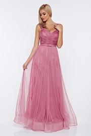 rochie lunga rosa de lux tip corset din tul captusita pe interior