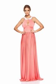 rochie lunga rosa de ocazie din material elastic captusita pe interior