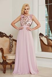 rochie lunga rosa de ocazie din voal cu aplicatii cu paiete