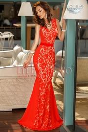 rochie lunga rosie cu dantela