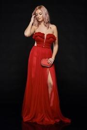 rochie lunga rosie de lux cu bust buretat din tul captusita pe interior