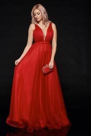 rochie lunga rosie de lux din tul captusita pe interior cu decolteu in v