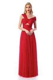 rochie lunga rosie de lux din tul captusita pe interior pe umeri