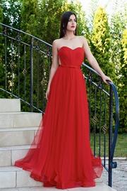 rochie lunga rosie de lux din tul cu bust buretat