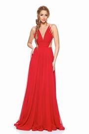 rochie lunga rosie de lux din voal captusita pe interior cu decolteu in v