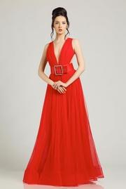 rochie lunga rosie de lux in clos din tul cu spatele gol