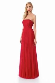 rochie lunga rosie de lux tip corset cu umeri goi captusita pe interior