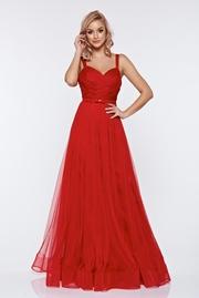 rochie lunga rosie de lux tip corset din tul captusita pe interior