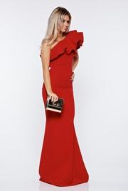 rochie lunga rosie de lux tip sirena pe umar din stofa usor elastica
