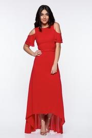 rochie lunga rosie de ocazie asimetrica cu umeri decupati captusita pe interior