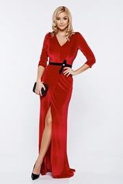 rochie lunga rosie de ocazie din catifea cu decolteu