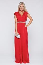 rochie lunga rosie de ocazie din material vaporos cu decolteu adanc