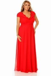 rochie lunga rosie de ocazie din voal cu decolteu