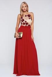 rochie lunga rosie de ocazie in clos captusita pe interior
