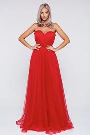 rochie lunga rosie de ocazie in clos cu tul