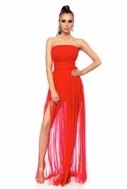 rochie lunga rosie de ocazie in clos fara maneci