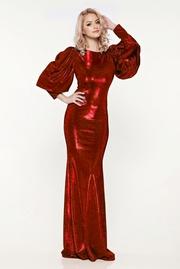 rochie lunga rosie de seara tip sirena cu maneci bufante