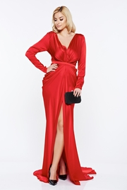 rochie lunga rosie sirena de ocazie din material satinat