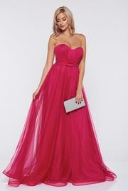 rochie lunga roz de lux din tul cu bust buretat