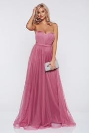 rochie lunga roz deschis de lux din tul cu bust buretat