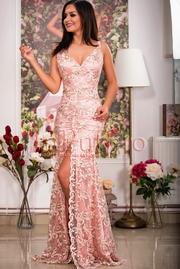 rochie lunga sirena cu dantela roz