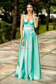 rochie lunga tafta turcoaz pal