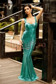 rochie lunga tip sirena cu paiete verzi si spatele gol