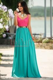 rochie lunga turcoaz cu dantela ciclam
