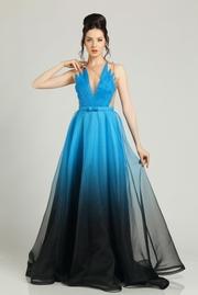 rochie lunga turcoaz de lux din voal cu decolteu captusita pe interior