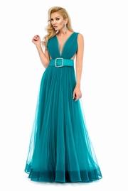 rochie lunga turcoaz de lux in clos din tul cu spatele gol