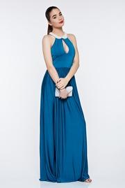 rochie lunga turcoaz de ocazie din material elastic captusita pe interior
