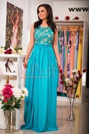 rochie lunga turcoaz din voal