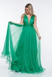 rochie lunga verde de lux din tul captusita pe interior cu bust buretat