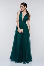 rochie lunga verde de lux din tul captusita pe interior cu decolteu in v
