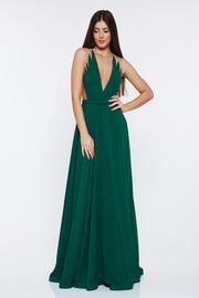 rochie lunga verde de lux din voal captusita pe interior cu decolteu in v