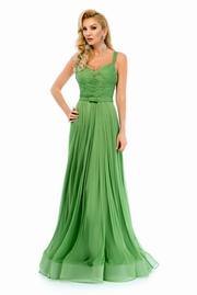rochie lunga verde de lux tip corset din tul captusita pe interior