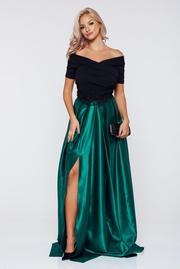 rochie lunga verde de ocazie din material satinat cu insertii de broderie 2018