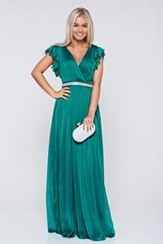 rochie lunga verde de ocazie din material vaporos cu decolteu adanc