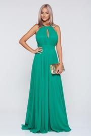 rochie lunga verde de ocazie in clos din voal cu pliuri captusita pe interior