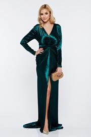 rochie lunga verde de seara sirena din catifea cu decolteu adanc