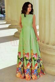 rochie lunga verde din tafta cu imprimeu floral
