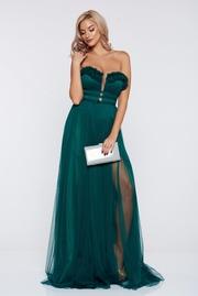 rochie lunga verde-inchis de lux cu bust buretat din tul captusita pe interior